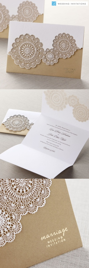 Tri-Fold Laser Cut Gold by B Wedding Invitations